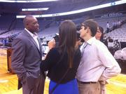 Former Orlando Magic player Nick Anderson talks to media during the 25th anniversary press conference.