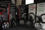 Models of the five featured Bridgestone products on display at the Bridgestone Drive & Learn event.
