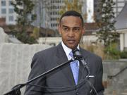 Mayor Patrick Cannon at a press conference in Romare Bearden Park last year.