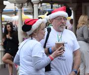Celebrity sighting: Mr. and Mrs. Claus take a break before the rush begins.