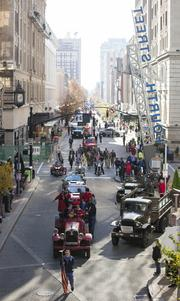 The UAW 862/Ford Motor Company Veteran's Day Parade moving north on Fourth Street.