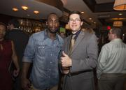 Boldin poses for a picture with guest Jack Olson. Tickets to the event cost $400 each.