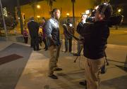 Boldin speaking to the 49ers production team outside of Morton's Steakhouse in San Jose.