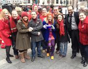 Cincinnati Shakespeare Company gathers together on Fountain Square.