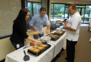 A French toast breakfast is served to employees at Emerge.