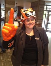 An employee at Hyatt Regency Cincinnati shows her stripes.