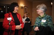 Lynn Baron, left, and Christie Kindl, both with California University of Pennsylvania.