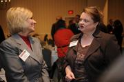 Susie Bowell of S&T Bank, left, and Kelly Mullen of the American Heart Association.