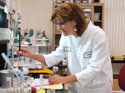 Fortitech chemist Elissa Blodgett at work at the company's plant in Schenectady, NY in this 2008 photo.
