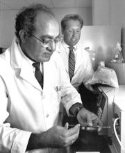 In 1987, Fortitech's chief scientist Ram Chaudhari, left, with Walt Borisenok.