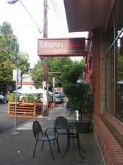 Street seating at Urban Fondu/Bartini, 2108-2118 N.W. Glisan St.