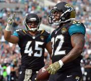 Jacksonville Jaguars running back Maurice Jones-Drew after rushing for a touchdown.