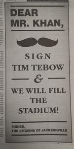 Jacksonville golf pro behind sign Tim Tebow ads
