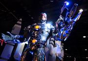 An animatronic version of the DC comics character Cyborg advertises a new Justice League interactive game. I'd buy it.