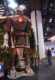 But he's nothing compared to the giant robot sculpture on the other side of the company's exhibit area.