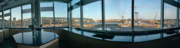 A panoramic view from a corner lab space, looking east across the river.
