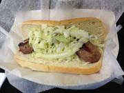 A Tequila Lime Sausage, with cilantro lime slaw from Aramark's Riverwalk Grill.
