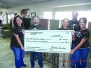 Rocky Mountain Stone  Helen Cordova, Steve Bickel, Diane Santiago, Eric Cobb and Karen Ryan of Rocky Mountain Stone in Albuquerque display a check showing the results of the company' third annual Counters For A Cause sale. The project raises money to help build specially adapted homes for severely injured veterans. Artisan Group countertop fabricators across America annually host Counters For A Cause, selling granite and other stone remnants with 3 percent of proceeds going to Homes for Our Troops.
