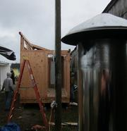 Along with the new InStove, Opportunity Village is adding a new bathhouse structure. The facility is being built by volunteers and includes two showers, a washer /dryer and a toilet.