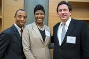 Birmingham School of Law alums Gregory Harris II, Ruby Davis and Jay Williams in the student commons area.