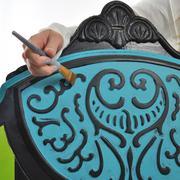 A closeup of Tracey's Fancy headboard.