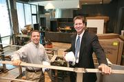 Bern's Steak House owner David Laxer and Mainsail Lodging & Development CEO Joe Collier in the new hotel's Epicurean Theater. The educational component to cooking and wine was very important to Bern Laxer, David's father, who founded the steak house in 1956.
