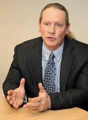Nelson Ludlow, Intellicheck Mobilisa CEO, is pictured during an interview with the PSBJ.