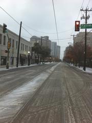 Ice covers McKinney Avenue in Uptown Dallas.