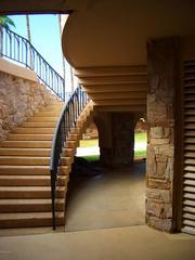 An outdoor staircase.