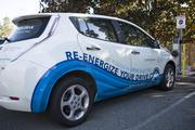 NCPEV Task Force's Nissan Leaf charges for demonstration. NCPEV Task Force is a collaborative group of stakeholders that works to increase adoption of electric vehicles.
