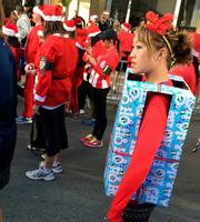 What would a Santa Run be without a few presents? There were a number of them sprinkled through the crowd in San Jose on Sunday.
