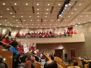 South Charlotte residents wearing red shirts to represent opposition to a proposed apartment project packed Charlotte City Council chambers Dec. 16.