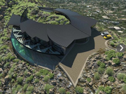 """Scottsdale-based architect Nick Tsontakis came up with a home concept that would illustrate the full potential of the property on a ridge of Mummy Mountain. What he conjured up is a 16,370-square-foot mansion that could pass for Bruce Wayne's Western estate. The two wings of the house, estimated at $30 million, would encircle the mountain ridge and offer panoramic views from the north and south faces. Underneath the ridge, a cavernous entertainment hall would connect the wings. The 2,000-square-foot hall, which would stand at one and a half stories, would be incorporated into the mountain to form """"exposed rock walls"""" throughout the house."""