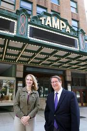 John Bell, president and CEO, and Jill Witecki, director of marketing and community relations, at the Tampa Theatre.