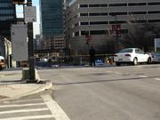 Lombard Street near the federal courthouse in downtown Baltimore was shutdown Thursday.