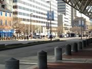 Pratt Street outside the federal courthouse in downtown Baltimore was shutdown Thursday afternoon after a gunman had been arrested outside the building.