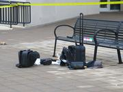 Remnants of the suspect's belongings outside the federal courthouse in downtown Baltimore.