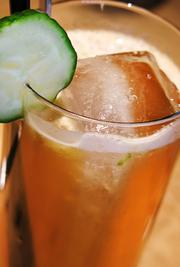 The Fall Cup at Moxie. It consists of Pimms No. 1, brandy, apple, cucumber, lemon and ginger ale.