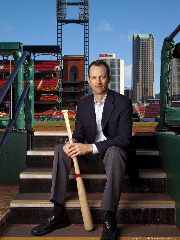 Bill DeWitt III, president of the St. Louis Cardinals, poses for a portrait at Busch Stadium.