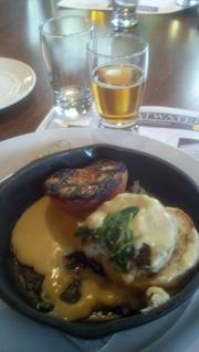 A sweet onion popover with grilled peaches and Tillamook sharp cheddar cheese is paired with an Upslope Imperial IPA at a Vail Cascade Brewmaster's Weekend dinner in July 2013.