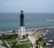 An aerial of Hillsboro Inlet Lighthouse.