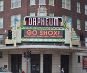 "The Orpheum Theatre has ""Go Shox!"" on its marquee."