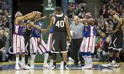 The Globetrotters beat the All-Stars in a surprisingly close game.