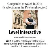 Level Interactive is a digital marketing, search engine optimization firm.  It led the Pittsburgh 100 for three-year compounded growth and set up its own call centers outside the U.S. to ensure service.