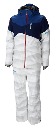 "The uniform Columbia Sportswear designed for U.S. moguls skiers includes individualized shoulder patches and ""snow camo."""