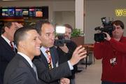 Xavier Rabell, CEO of Areas USA, shows Lt. Gov. Anthony Brown around the new Maryland House on Monday.