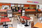 Travelers can make a pit stop at this Dunkin' Dounts to grab a cup of coffee and get back on the road.