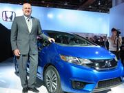 Honda sales chief John Mendel showed off the new Fit at the 2014 North American International Auto Show in Detroit.