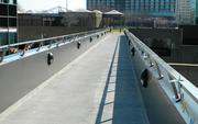 The new pedestrian bridge links the Muhammad Ali Center's plaza with the Belvedere.
