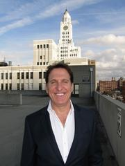 Developer Bart Blatstein, who has proposed the Provence for North Broad Street. He's standing on what would be part of the casino but is now a parking garage. Behind him is the old Philadelphia Inquirer building, which would be part of the casino project.
